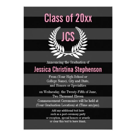 "Monogram Laurel Pink and Black Preppy Graduation 4.5"" X 6.25"" Invitation Card"