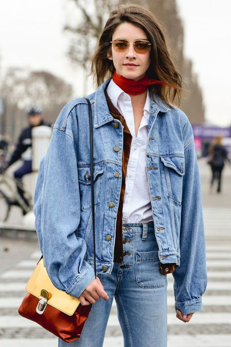 Denim jacket and jeans outfit