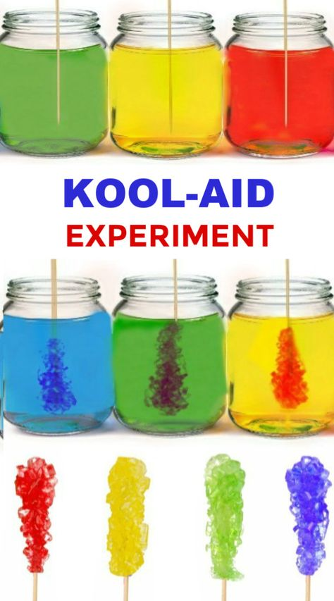 Rock Candy Make your own rock candy using kool-aid! My kids loved this edible science experiment!Make your own rock candy using kool-aid! My kids loved this edible science experiment! Science Projects For Kids, Science Crafts, Preschool Science, Fun Crafts For Kids, Science Fair, Science For Kids, Activities For Kids, Science Classroom, Earth Science