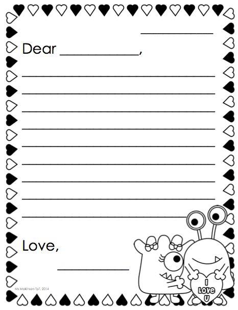 FREE Letter Writing Templates for Children Homeschool, Writing - sample love letter