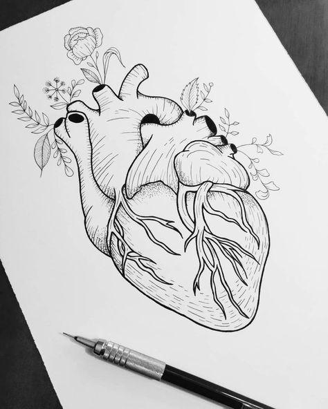 Art created by Felipe Ramos (wtfmanson). Heart with flowers on the   - Zeichnungen - #Art #created #Felipe #flowers #Heart #Ramos #wtfmanson #Zeichnungen