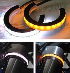 2x Motorcycle Bike SMD LED Strip Fork Turn Signal Indicator Light Blink Amber