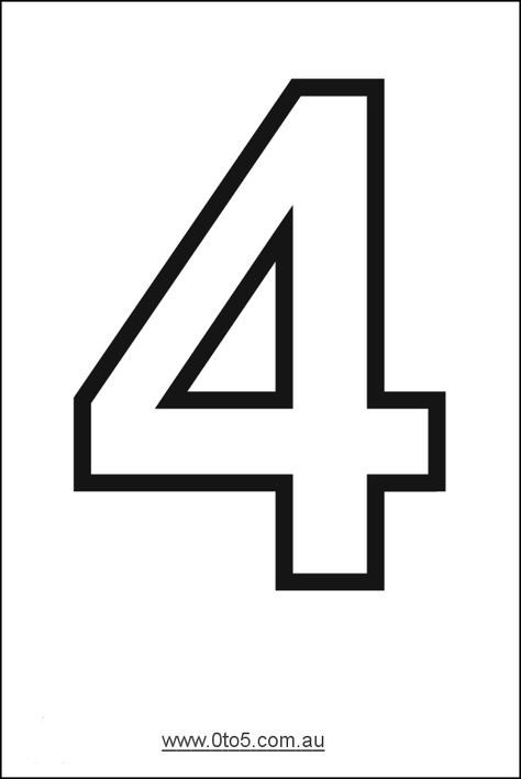 Number - four printable template Gabe's 4th birthday shirt