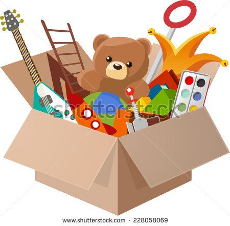 Vectorsicon Com Download Vector Icons Toy Box Full Of Children S Toys Including Teddy Bear Guitar Ball Watercolor Vintage Christmas Toys Toy Boxes Toys
