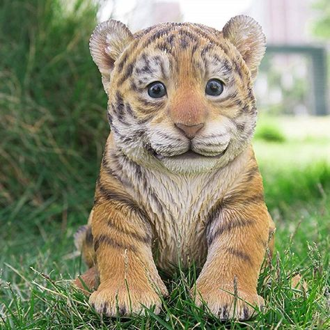 Sitting Tiger Cub Statue this adorable tiger cub will enhance your home or garden. His playful realistic appearance will attract many onlookers. A creative gift for family or friend. Baby Animals Super Cute, Cute Baby Cats, Cute Little Animals, Cute Funny Animals, Baby Animals Pictures, Cute Animal Photos, Amazing Animals, Animals Beautiful, Baby Cheetahs
