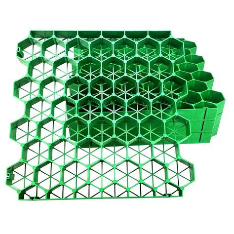 19.7 in. x 19.7 in. x 1.9 in. Green Permeable Plastic Grass Pavers for Parking Lots, Driveways (4 Pieces/11 sq.ft.)