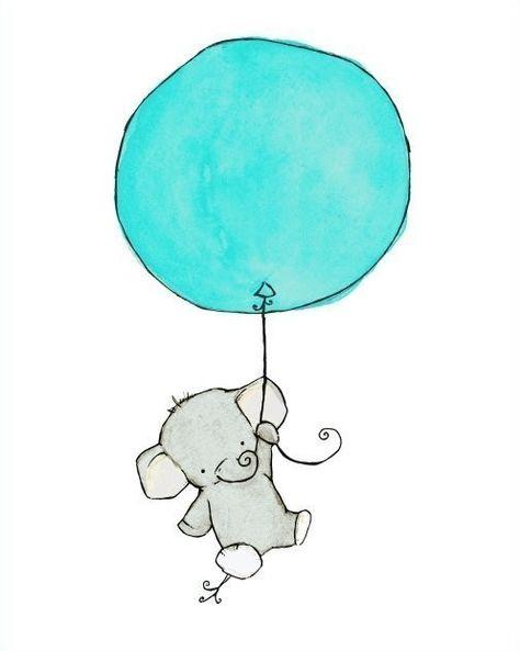 etsy - trafalgar's square - baby nursery - art print - flying high - elephant with balloon - aqua