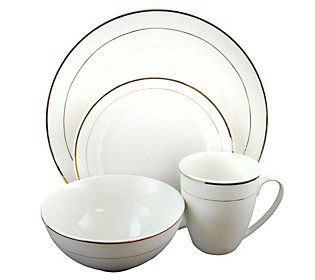 Gibson Home Palladine 16 Piece Dinnerware Gold Banded Set Qvc