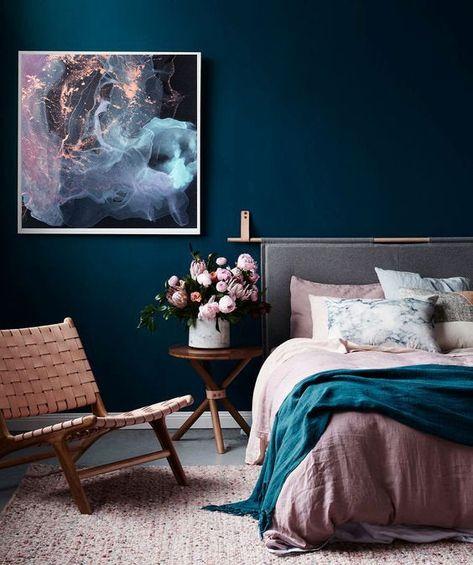 Bedroom Wall Colors, Bedroom Color Schemes, Room Ideas Bedroom, Cozy Bedroom, Home Decor Bedroom, Bed Room, Turquoise Bedroom Walls, Dark Romantic Bedroom, Dark Blue Bedroom Walls