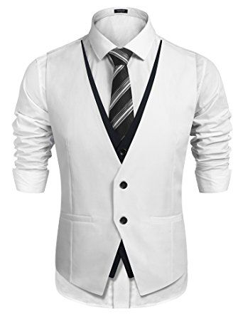 f2165cda47f COOFANDY Men's Slim Fit Vest Layering Formal Business Wedding ...