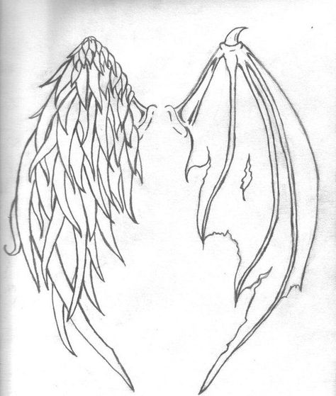 Download Free Half Demon Half Angel Wings Tattoo 1000 ideas about angel demon ... to use and take to your artist.