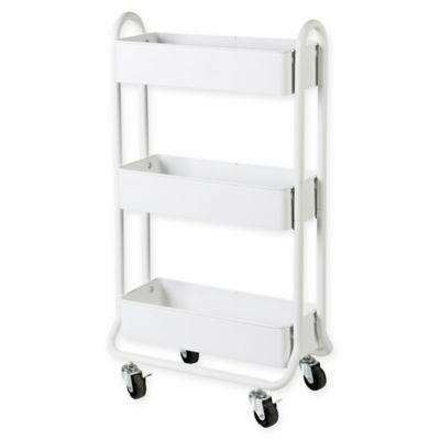 Salt Narrow Bath Storage Cart In White In 2020 Bath Storage Bathroom Storage Narrow Bathroom Storage