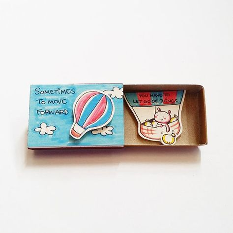 "Witty Encouragement Card Matchbox - Cute Rabbit Greeting Card - Gift box - ""Sometimes to move forwar"