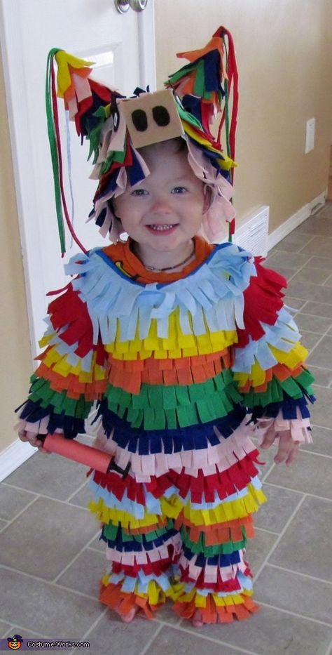 Homemade Felt Pinata Costume - All the kid needs is a stick and it's a revenge of the pinata costume!  :)