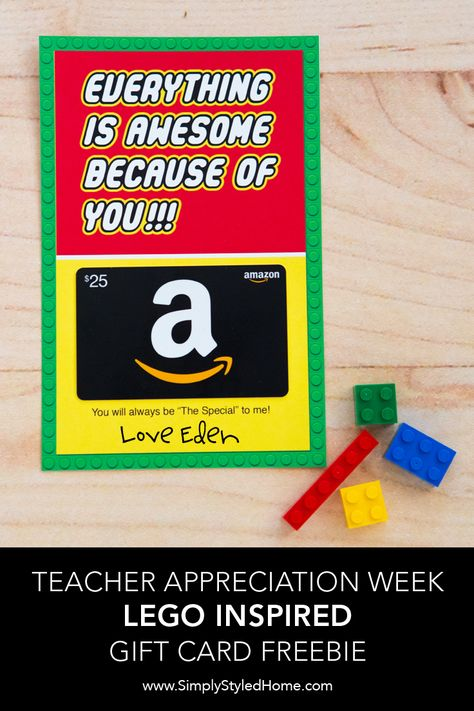 Click here for a FREE Lego inspired gift card holder. We also have detailed instructions and printables to create an awesome week-long celebration at your school!