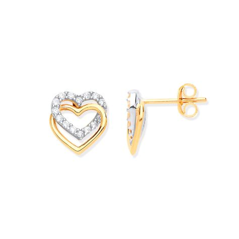 9ct Yellow Gold Double Heart Cz Stud Earrings Dimensions: total height: 9.7mm total width: 9.1mm