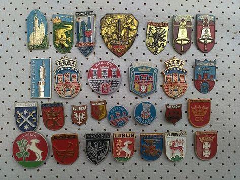 593d3164dc8f Poland City Crests Vintage Pins Collection Polish Cities Coat of Arms  Krakow Poland 30 pins Souvenirs Antique Polska anstecknadel antique