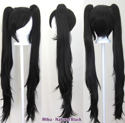 Miku Natural Black In 2020 Cosplay Wigs Wigs Anime Wigs