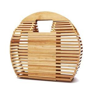 Natural Bamboo Clutch Bag Straw Woven Round Handbag For
