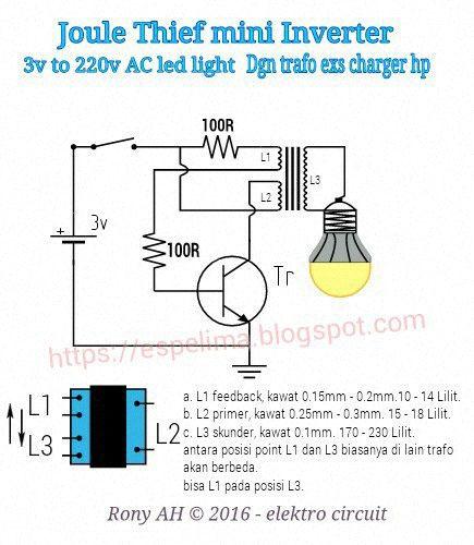20 Jam Joule Thief Mini Inverter Rangkaian Elektronik Elektronik Teknologi