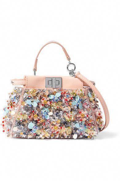 0d430cc4a7f FENDI Peekaboo Micro Embellished Satin-Twill Shoulder Bag. #fendi ...