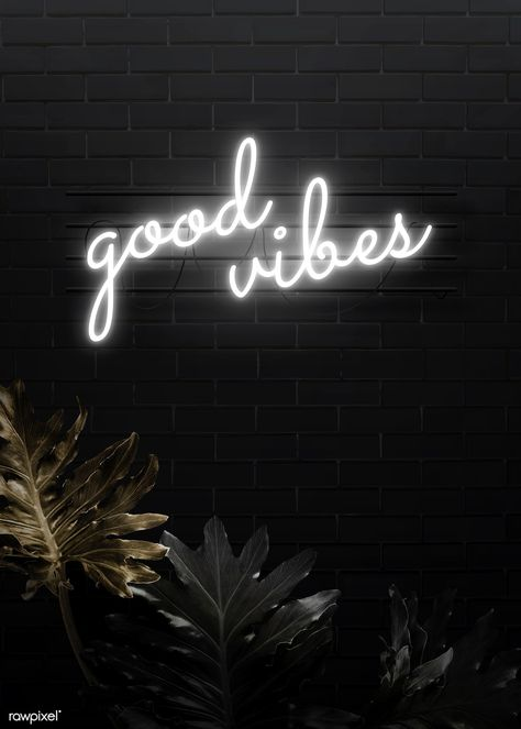 Good vibes neon word on a black brick wall vector | free image by rawpixel.com / manotang