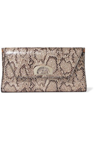 de7bd387e8 Christian Louboutin - Vero Dodat Metallic Snake-effect Leather Clutch -  Snake print