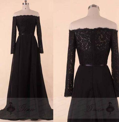 cf8b3b01356 Black Bridesmaid Dress With Sleeves
