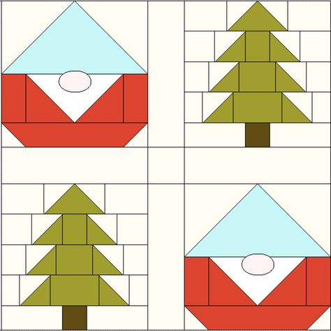 Easy Pine Tree Quilt Block (& how to finish your Gnome Forest Quilt) — SewCanShe Mug Rug Patterns, Barn Quilt Patterns, Sewing Patterns, Free Quilt Block Patterns, Canvas Patterns, Christmas Tree Quilt Block Patterns, Christmas Quilting, Christmas Blocks, Christmas Sewing Projects