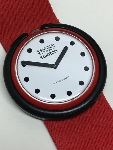 Vintage Pop Swatch Watch Fire Signal 1986 Red Elastic Band Gift Retro Swatch Watch by ThatIsSoFunny on Etsy