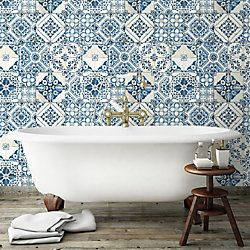 Roommates Mediterranean Tile Peel Stick Wallpaper The Home Depot Canada In 2020 Mediterranean Homes Mediterranean Tile Mediterranean Homes Exterior