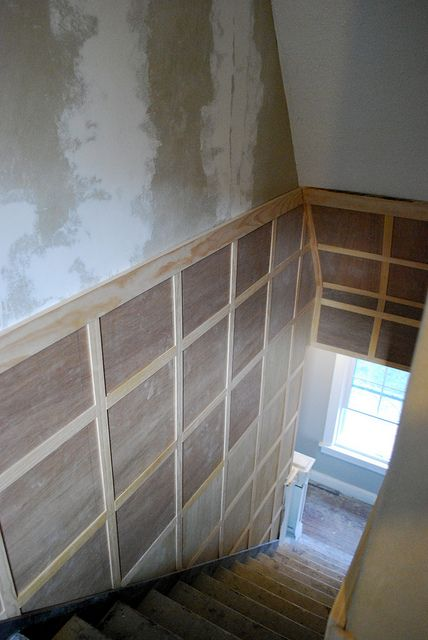 Stairway inspiration: Square board and batten to hide damaged walls