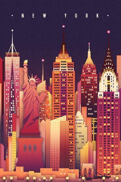 New York City New York Neon Skyline Empire State Building Center Lantern Press Artwork Cityposter New York Poster City Poster Klassische Reiseposter