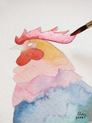 Le Blog De Thevy Aquarelle Coq Rooster Painting Art