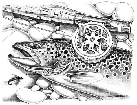 Jon Q Wright Art Print featuring the painting Brown Trout And Antique Reel by JQ Licensing