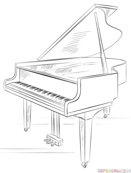 How To Draw A Grand Piano Step By Step Drawing Tutorials For Kids
