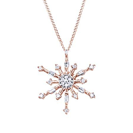 White Natural Diamond Snowflake Pendant Necklace In 10k Rose Gold 0 1 Cttw Diamondpendant With Images Diamond Infinity Necklace Classy Necklace Stylish Necklace