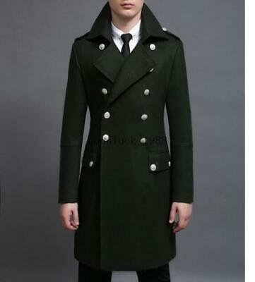 Mens Lapel Overcoat Jacket Double-Breasted Trench Outwear Coats Wool Blend Long