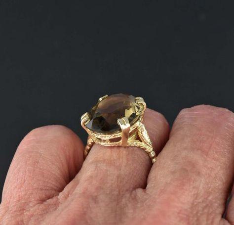Vintage 10 CTW Smoky Quartz Gold Ring 1970s   Smoky quartz