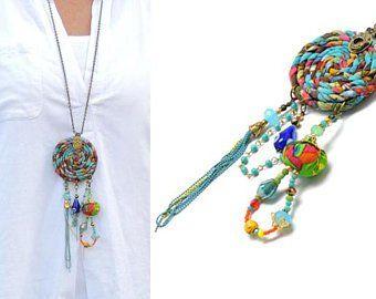 Leather Cord Boho Necklace Fabric Necklace OOAK, Boho Style Necklace Upcycled Jewelry Vintage style Necklace Gypsy Necklace