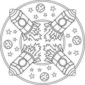 Mandala Rakete Ausmalbilder Zum Ausdrucken Mandala Coloring Pages Planets
