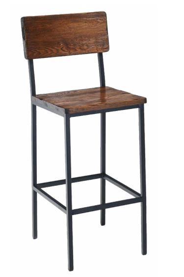 Tucker Series Rustic Walnut Seat Back Steel Frame Barstool Industrial Bar Stools Wood Bar Stools Bar Stools Metal stool with wood seat