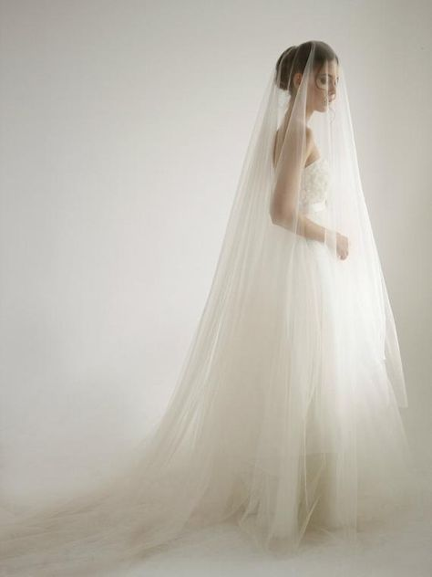 da9af6f82add Cathedral italian soft tulle wedding veil with knee blusher in peach color