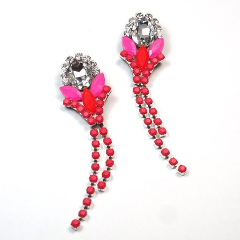 Colorblock Statement Earrings Neon Pink and by EzzaExclusive, $90.00