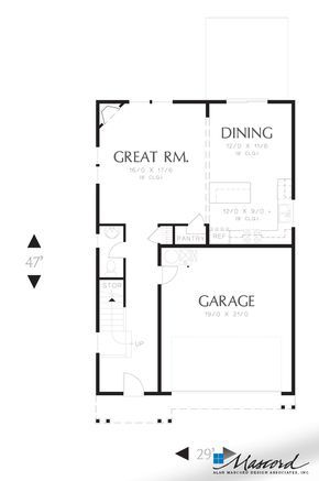 Main Floor Plan Of Mascord Plan 22195 The Melville Small Footprint Large Spacious Family Plan House Plans Narrow House Plans Traditional House Plan