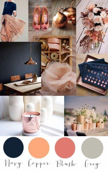 Trendfarbe Kupfer in Kombination mit Navy, Blush und Grau