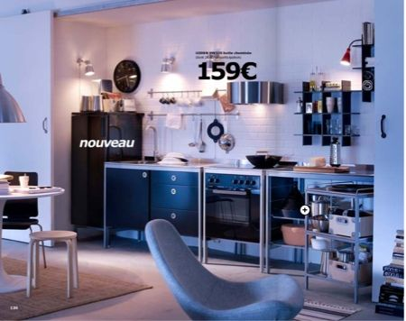 Cuisine noire esprit loft Ikea Udden Black kitchens, Kitchens
