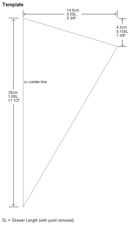 Sail template for the 1-Skewer Diamond kite The left hand edge - kite template