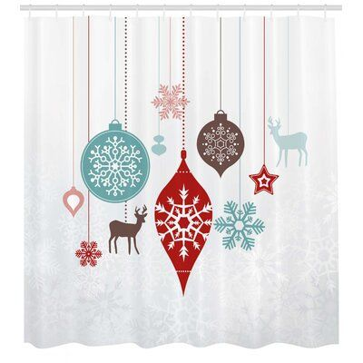 East Urban Home Ambesonne Christmas Shower Curtain Frosty Ice Elements With Snowflake Caro Vinyl Shower Curtains Shower Curtain Sets