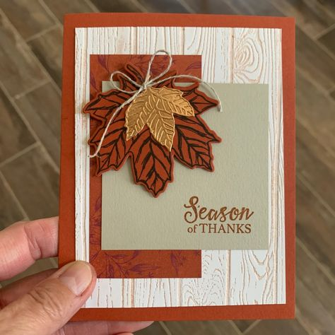 Inking Up Your Embossing Folder – 12 Cards of Fall Fall Cards, Holiday Cards, Handmade Thanksgiving Cards, Handmade Greetings, Greeting Cards Handmade, Leaf Cards, Square Card, Stamping Up Cards, Sympathy Cards